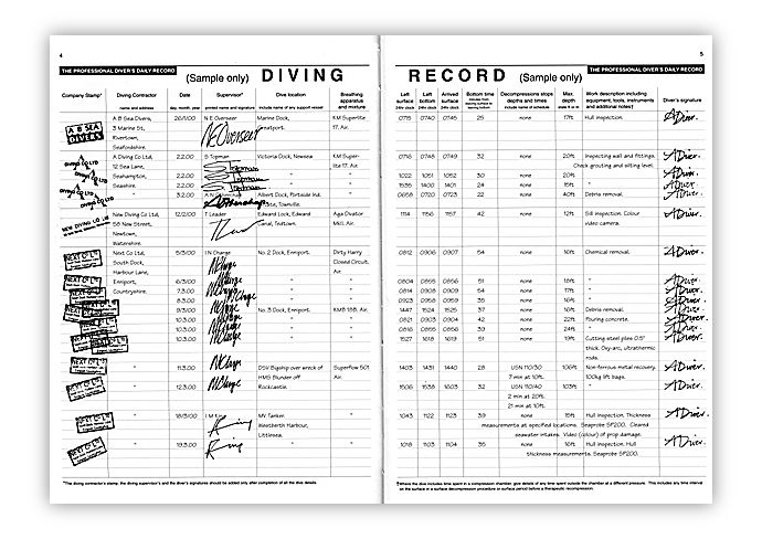 Pdc 10 book logbook professional diver s daily record - Dive log book ...