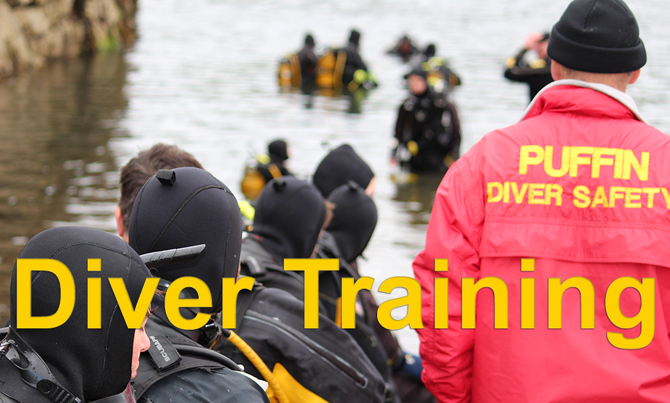 Diver Training. Divers enter water with safety cover